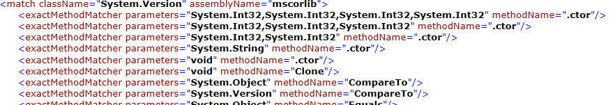 Sample output from nrconfig run against mscorlib, just for fun