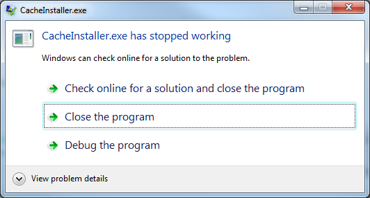 CacheInstaller.exe has stopped working? Check your system time