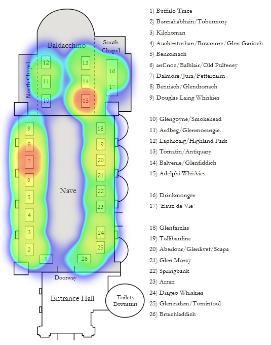 Heatmap of drams sampled during the 2012 RMW Whisky Fringe